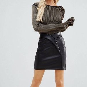 ASOS PETITE Textured tulip Mini Skirt in Leather